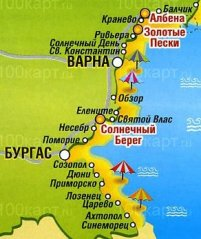 курорты Болгарии карта