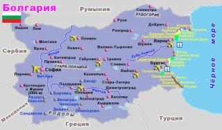 карта Болгарии с курортами